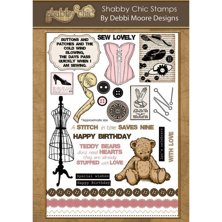 Debbi Moore Designs Shabby Chic Clear Stamp Set Haberdashery