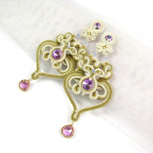Chandelier wedding soutache long earrings gold purple must