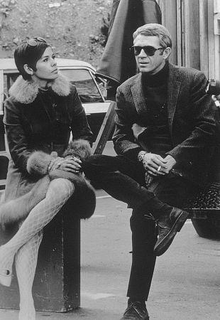 """Bullitt"" Steve McQueen and wife Neile behind the scenes. 1968 / Warner"