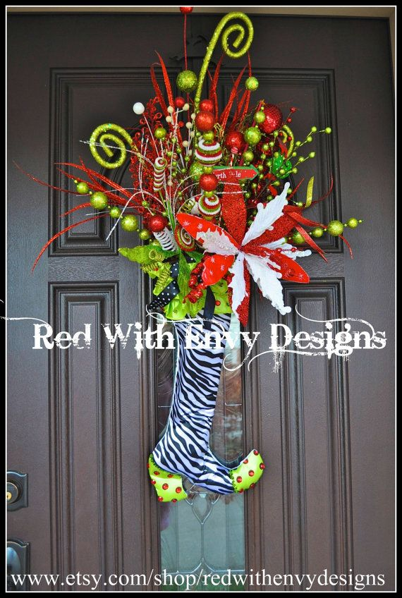 Whimsical Christmas Wreath Christmas Wreath by RedWithEnvyDesigns, $165.00