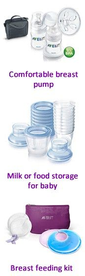A breast pump kit or breast milk / food storage set or breastfeeding kit complete with gel pads for relief from sore breasts make great gifts for baby showers.