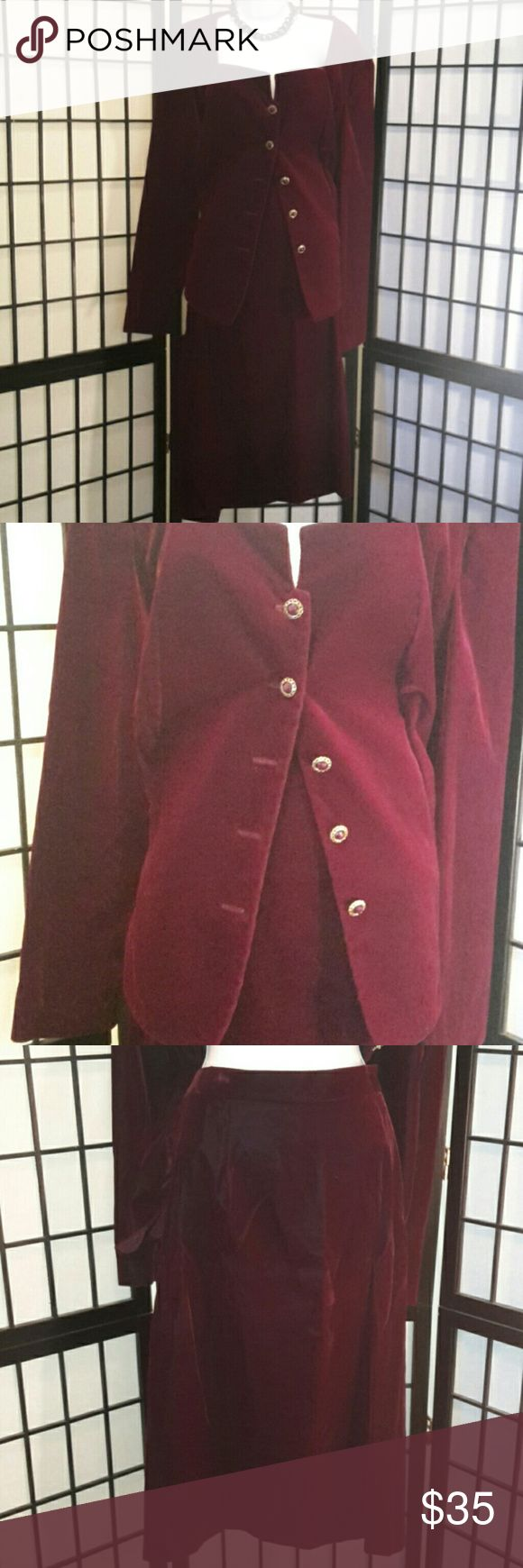 Cachet by Bari Protas 2pc Skirt Formal Suit Excellent Condition, Beautiful Burgundy Suit, Great for any Formal Dinner. Gold Buttons, Elastic Back, Back Zipper, Back Slit, Dry Clean Only, 70% Acetate 30% Nylon, Does Have A Velvet Look and Feel, Accessories not included, No Trading, but will consider reasonable offers. Please feel free to ask any questions. Thanks for sharing my closet, I will ALWAYS show you PoshLove by doing the same💓 Cachet Skirts Skirt Sets