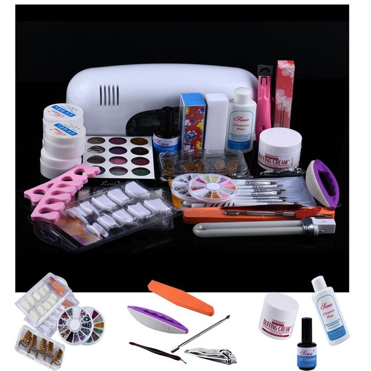 28.83$  Buy now - http://alioku.shopchina.info/1/go.php?t=32816293792 - 2017 Nail Art Kit 9W  25 in 1 Combo Professional DIY UV Gel  Lamp Dryer Brush Buffer Tool Nail Tips Glue Acrylic Set  A#  #magazine