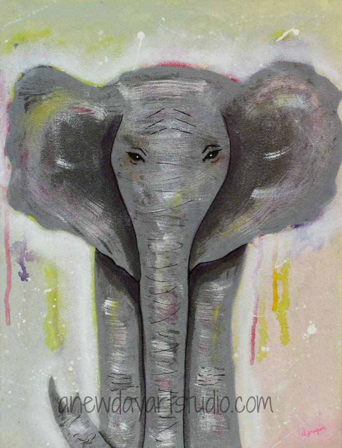 Elephant artwork for the elephant love postcard set.