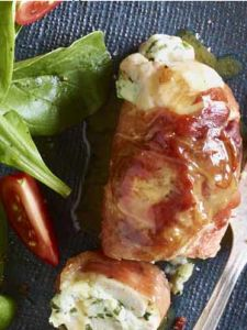 Procuitto Wrapped Chicken Stuffed with Herb Ricotta-So Good!