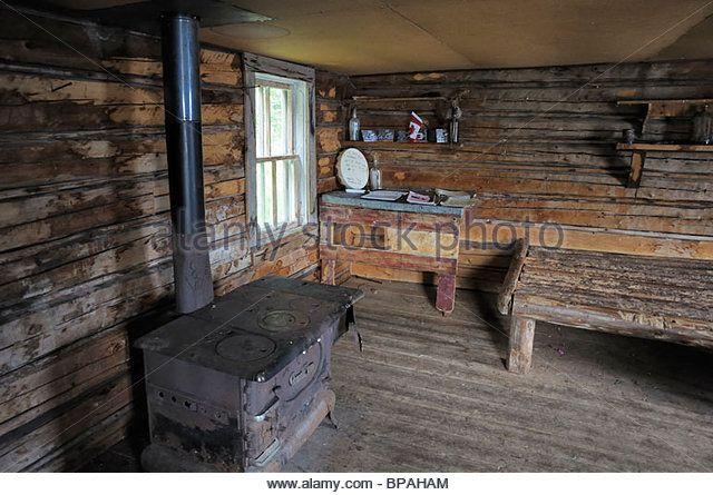 Inside Grey Owl's cabin, Prince Albert National Park. - Stock Image