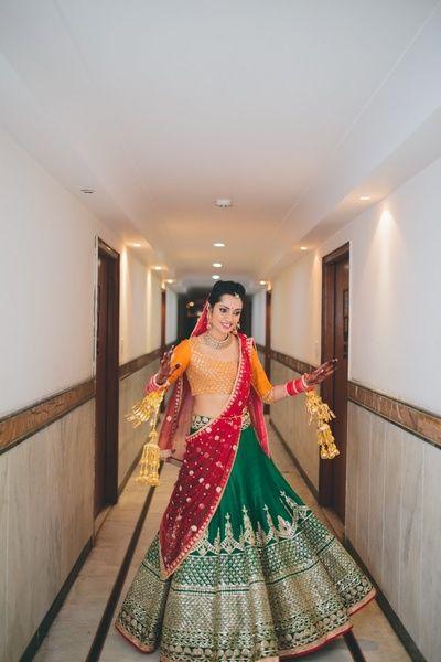 Mustard , red and green bridal lehenga  , emerald green bridal lehenga , silk…