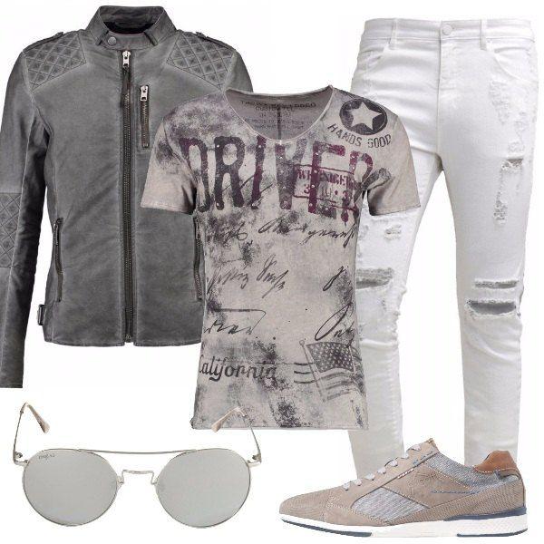 Per+chi+ama+durante+il+tempo+libero+essere+trendy+e+sportivo,+ho+scelto+jeans+slim+fit+con+strappi+clean+white,+t-shirt+con+stampa+silber,+giacca+leggera+in+cotone+vintage+grey,+sneakers+basse,+occhiali+da+sole+silver+mirror.+Sarete+ammirati+da+tutti.