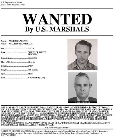 A wanted poster for renowned Alcatraz escapee Clarence Anglin.  Anglin, along with his brother John Anglin and Frank Morris escaped from Alcatraz