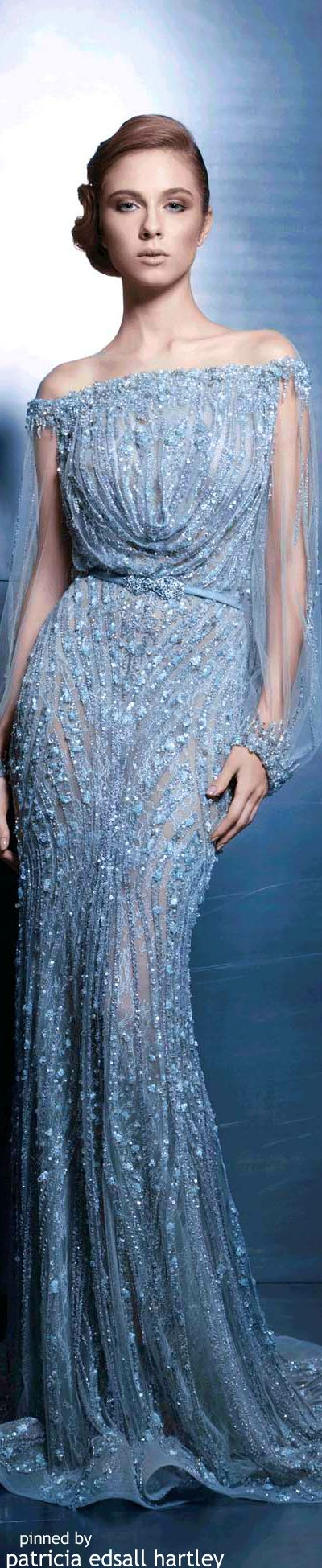 Ziad Nakad Couture 2015 ------- Normally I don't like these kinds of dresses, but this is gorgeous. I can imagine using this for an ice spirit or water spirit costume.