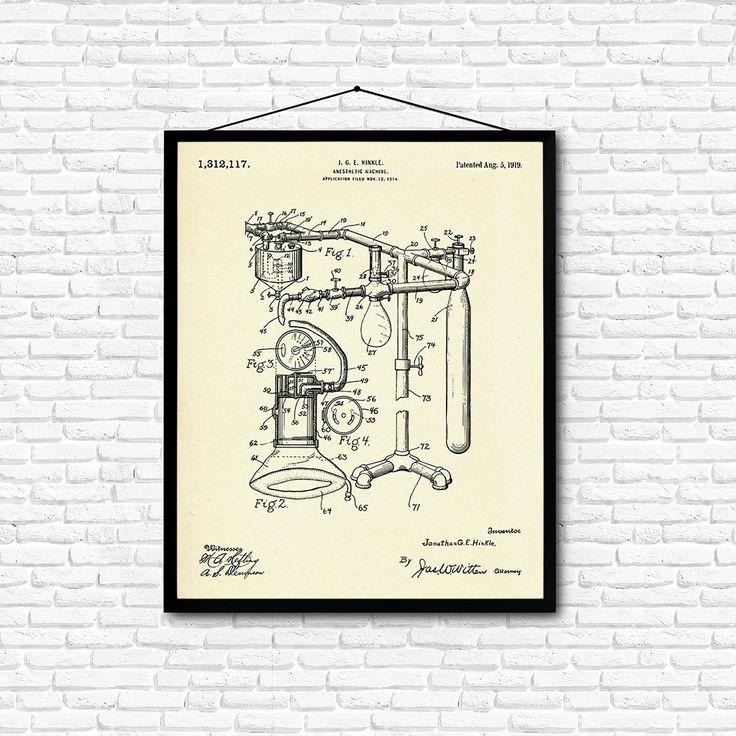 Anesthetic Machine Patent Print- 1919 - Poster Wall art Illustration Print Art…