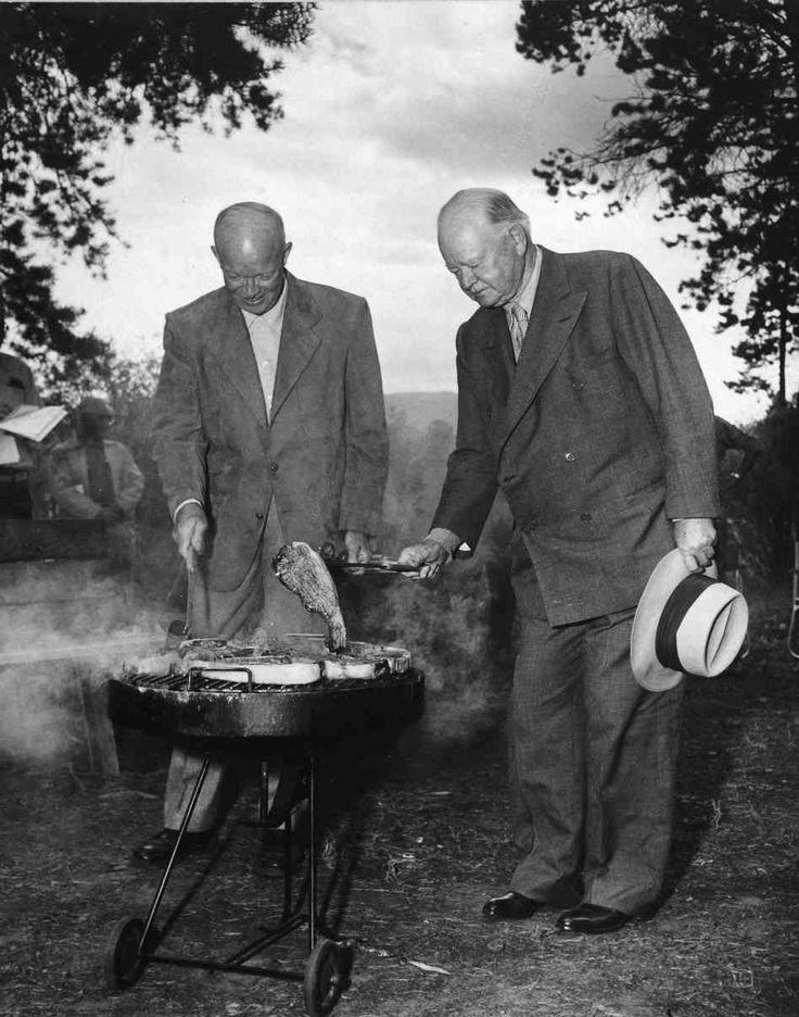 President Dwight D. Eisenhower and former President Herbert Hoover grilling steaks in Fraser, Colorado 1954.