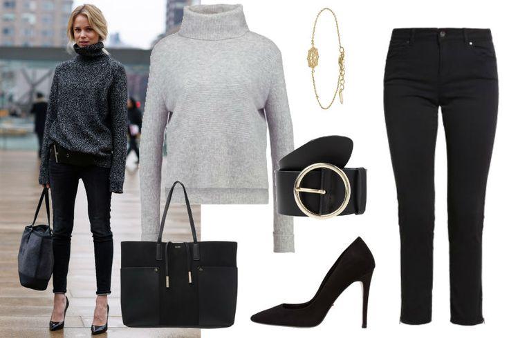 elin-kling.com, szary sweter, czarne szpilki, duża torebka