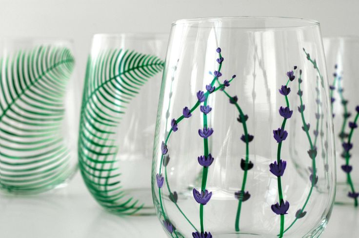 Garden Party Stemless Wine Glasses-4 Piece hand-painted Collection for $60.00 by Mary Elizabeth Arts