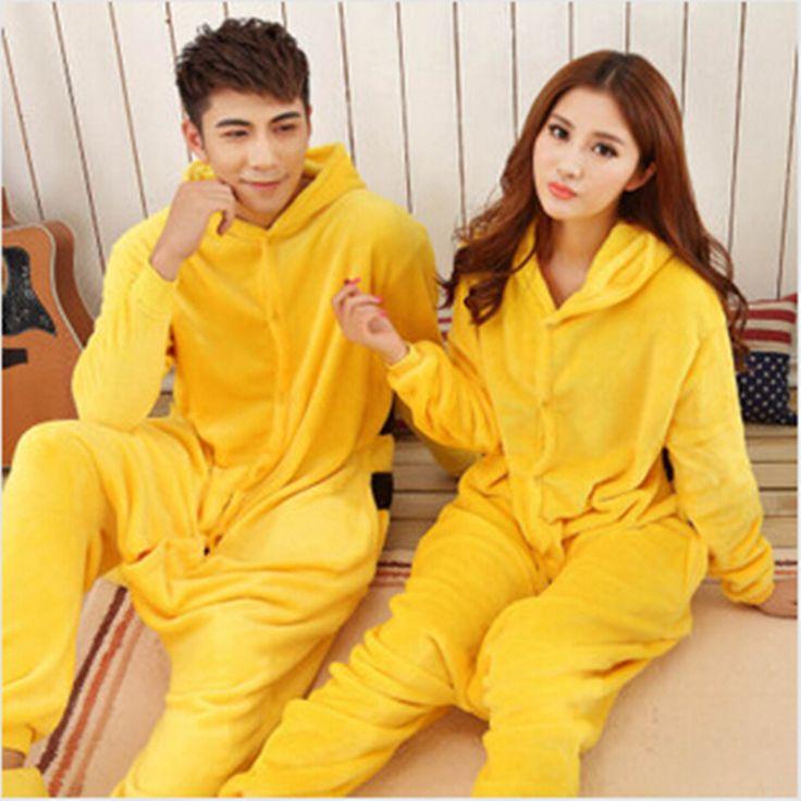 Wholesale Winter Animal Onesies Cartoon Unisex Adult Pikachu Pajamas Sets Flannel Sleepwear Suit Winnie Onesie #Affiliate