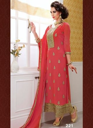 Captivating Pink And Mustard Designer Long Churidar Suit http://www.angelnx.com/Salwar-Kameez