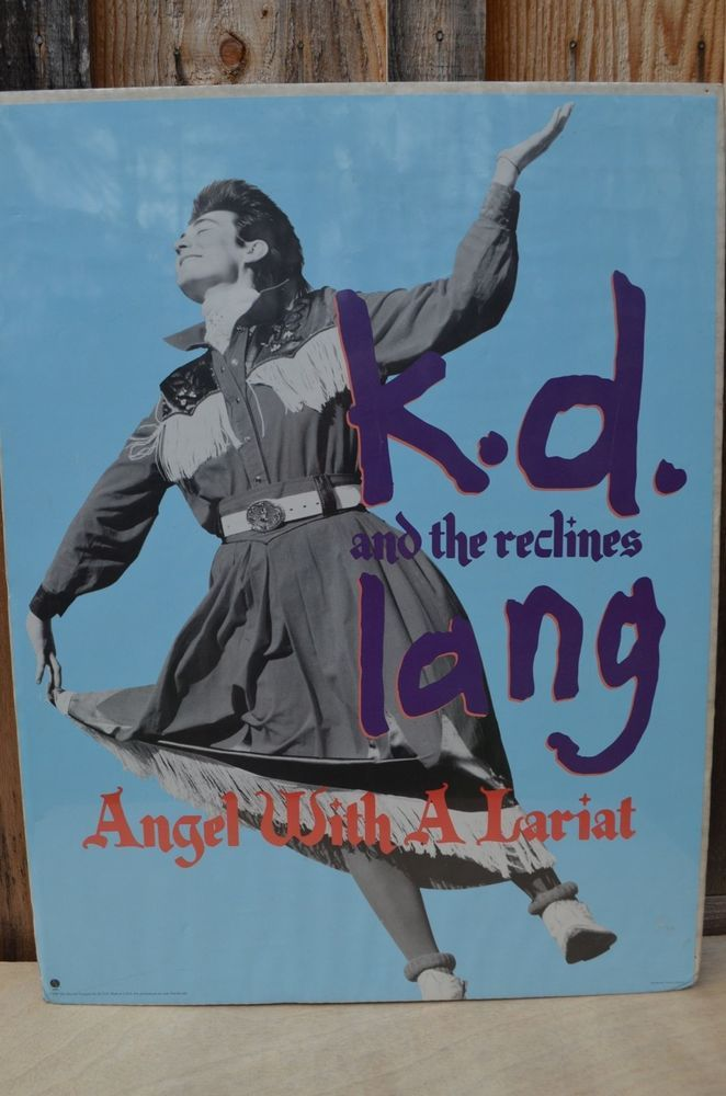 VTG KD Lang & The Recliners Angel With A Lariat 80s Sire Records Promo Poster