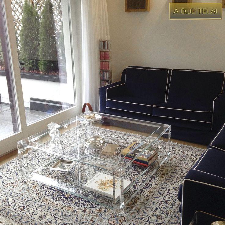 Lucite Acrylic coffe table - TAVOLINI DA SALOTTO IN PLEXIGLASS | Tavolo trasparente in plexiglass 01.mod.  A DUE TELAI   | Tavolino plexiglass cm.110 x 110 h.42 - telai sp.mm.25 - gambe sez.mm.60 - gola singola sulle gambe - vetri extra-chiaro