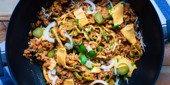 One Pot Pasta – Low Carb – Cheeseburger Style