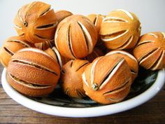 Create a bowl of whole dried oranges and/or limes to fill a decorative bowl on an accent or dining room table; the oranges will have a natural marmalade fragrance.  (To make, cut shallow slits in the orange/lime peel from top to bottom without removing peel. Make eight to 10 slits on each orange. Allow slit oranges to dry in dehydrator or low-heat oven for 12 to 24 hours.)