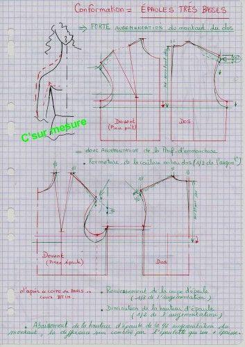 """D'après des documents-extraits de """"la COUPE de PARIS"""" ,pour des cours BTIH (années 1982/85). Liens : ...Essayages/Retouches ... corsage pince poitrine (csm) corsage """"pince épaule"""" (la coupe de paris)"""