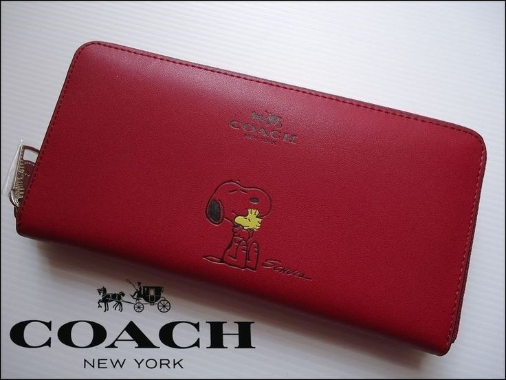 COACH  RED  SNOOPY X PEANUT LEATHER ZIP AROUND ACCORDIAN WOMEN S WALLET (*NWT*)