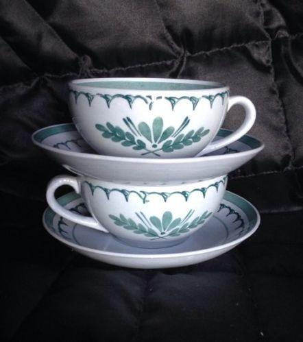 Two Sets VINTAGE ARABIA Finland Grey Green Thistle TEA SET...