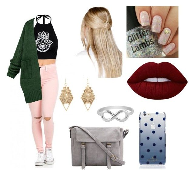 """Untitled #27"" by tadevicha on Polyvore featuring Boohoo, Charlotte Russe, Jewel Exclusive, Lime Crime and Kate Spade"