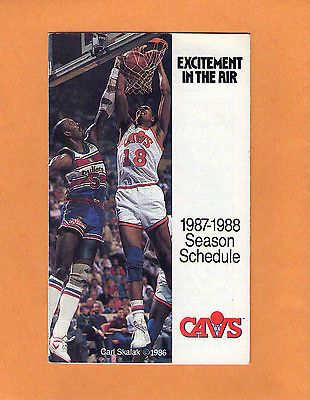 1987-88 NBA BASKETBALL CLEVELAND CAVALIERS GAME POCKET SCHEDULE