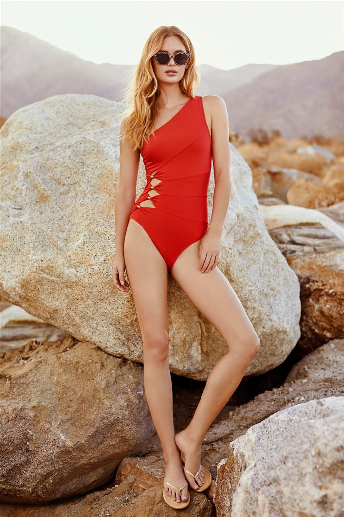 Cutout One Shoulder One Piece Swimsuit by Carmen Mark Valvo
