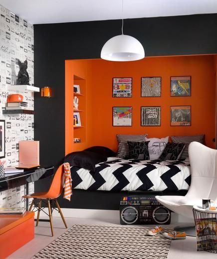 A two-toned small bedroom with layered patterns -- love the alcove and art gallery! | realsimple.com: Teens Rooms, Boys Bedrooms, Bedrooms Design, Color, Boys Rooms, Black, Bedrooms Ideas, Kids Rooms, Orange Bedrooms