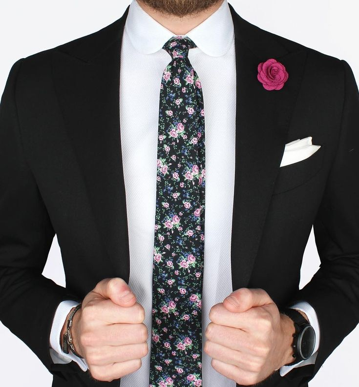 Our Black & pink floral tie over a White French cuff shirt with club collar, together with the new Mondo black jacket. What do you think of this look, gents?    www.Grandfrank.com