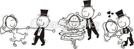 eerste dans bruiloft cartoon — Stockillustratie #7409822