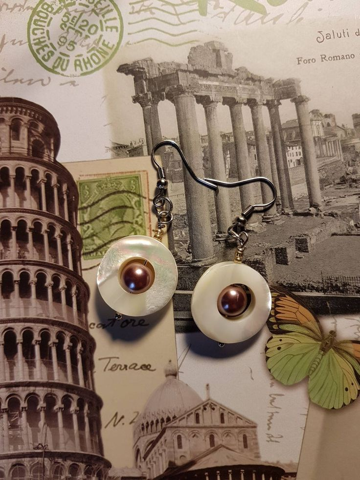 White Shell Earrings with Artificial Perl/White Shell/White Earrings/Shell Earrings