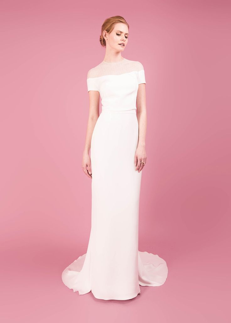 Modern wedding dress for the contemporary bride. Hilary top, Halle skirt. Polka dot  and silk morocain top. Silk morocain fitted skirt with train.