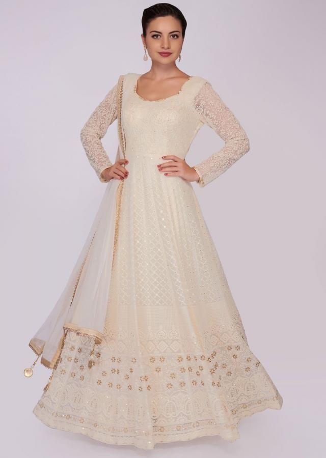 603893d8f8 off white georgette anarkali dress in chicken embroidery only on Kalki