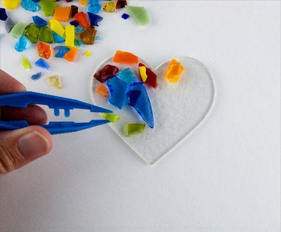 3 Corazón con estudio de mezcla del Color base de cristal transparente  Fusores principiantes y experimentados disfrutarán haciendo un Hearet único