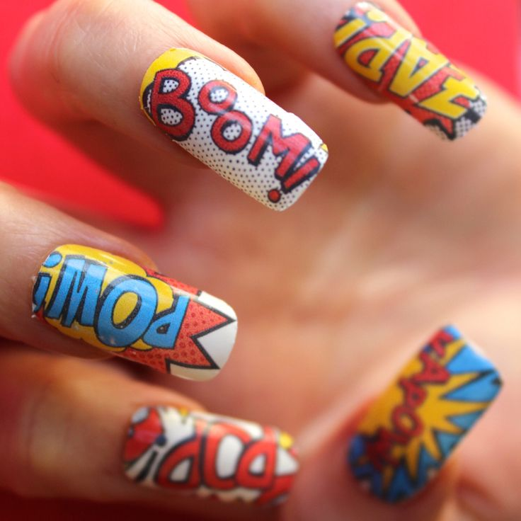 Super Comic Pow Boom Pop Nail Decals Waterslide Transfers Vintage Marvel Superhero Talons - kawaii - Retro - Nail Art design - Super Hero by Nailcat on Etsy https://www.etsy.com/listing/245131305/super-comic-pow-boom-pop-nail-decals