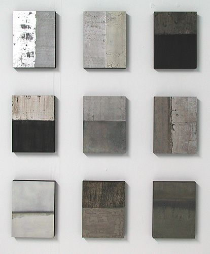 concrete finishes / Claire Burke's paintings at Alan Klucklow of New York.