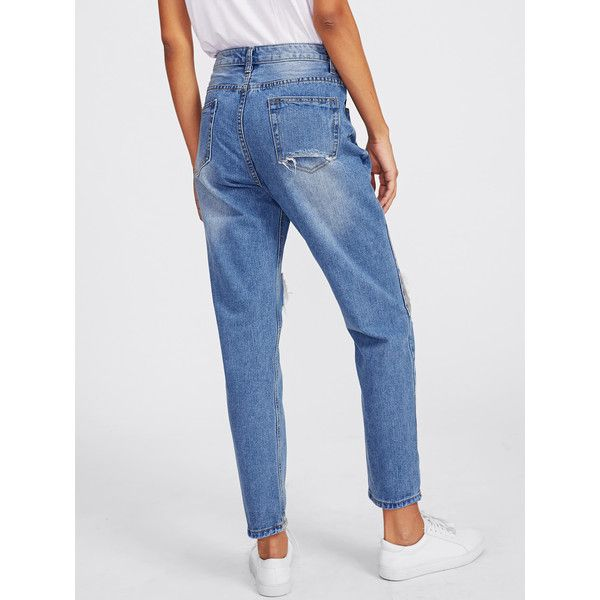 SheIn(sheinside) Ripped Knees Loose Jeans ($23) ❤ liked on Polyvore featuring jeans, long jeans, destroyed denim jeans, destructed jeans, ripped denim jeans and ripped jeans