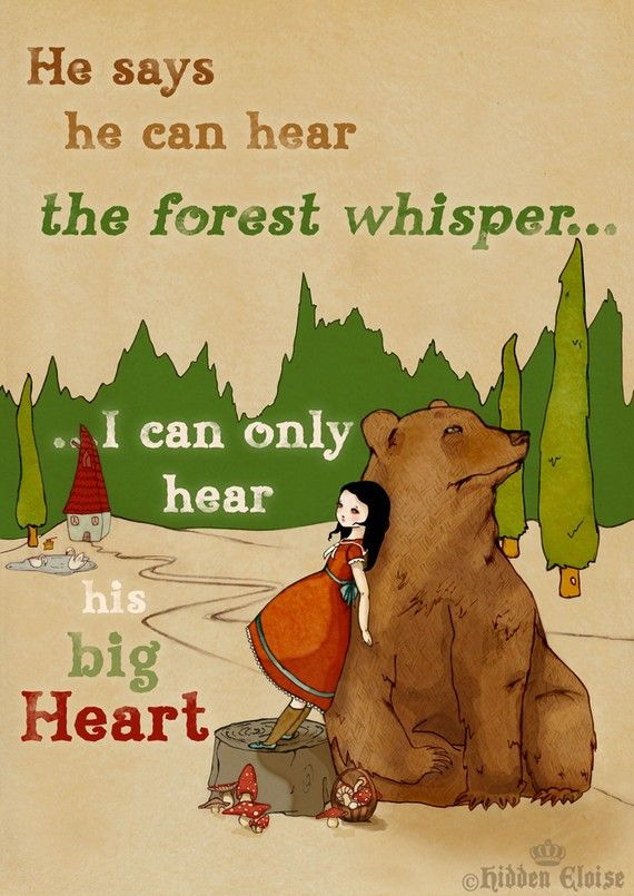 Bear Print Bear and Girl Illustration Whimsical fairytale storybook art print Wall art