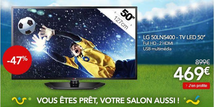 Lg 50LN5400 Téléviseur LED, achat à moins de 500€ ' prix promo TV LED pas cher Rue du Commerce 469 € TTC au lieu de 899 €