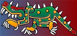 Cipactli,Aztec,meaning Caiman or crocodile.In Aztec myth partly fish,toad,caiman/crocodile