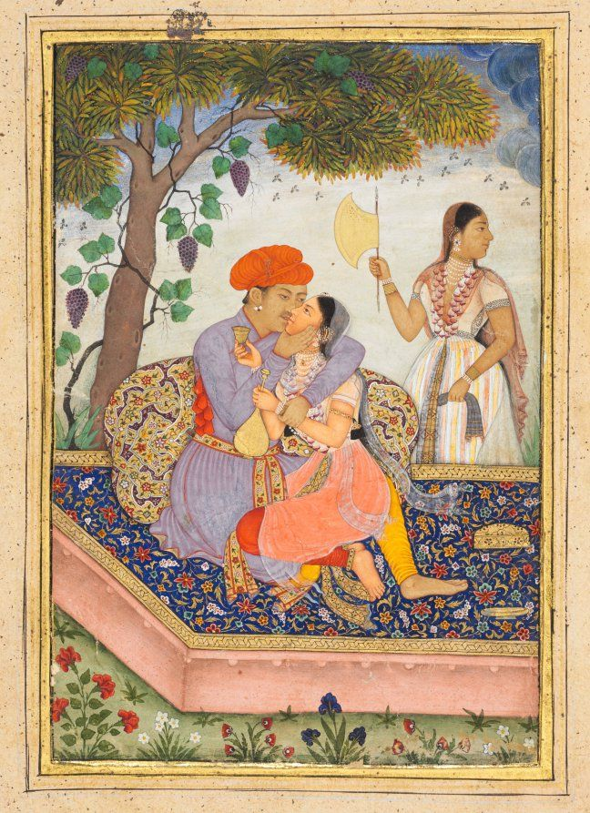 India, Popular Mughal School, probably done at Bikaner, Mughal Dynasty (1526-1756), opaque watercolor and gold on paper, Image: 14.90 x 10.10 cm (5 13/16 x 3 15/16 inches); Overall: 24.00 x 16.80 cm (9 7/16 x 6 9/16 inches); with mat: 35.50 x 25.40 cm (13 15/16 x 10 inches). Andrew R. and Martha Holden Jennings Fund 1971.91