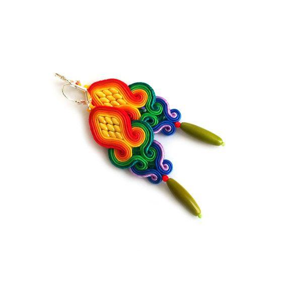 Rainbow earrings - Bohemian earrings - Soutache earrings - Birthday gift - Christmas gift - Joyful gift - Bridesmaids gift  Colorful jewelry