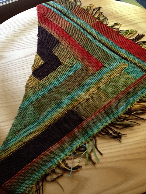 cperrine's Lokken version using Zitron Unisono sport yarn -- longer color bands than the model, nice abstract effect