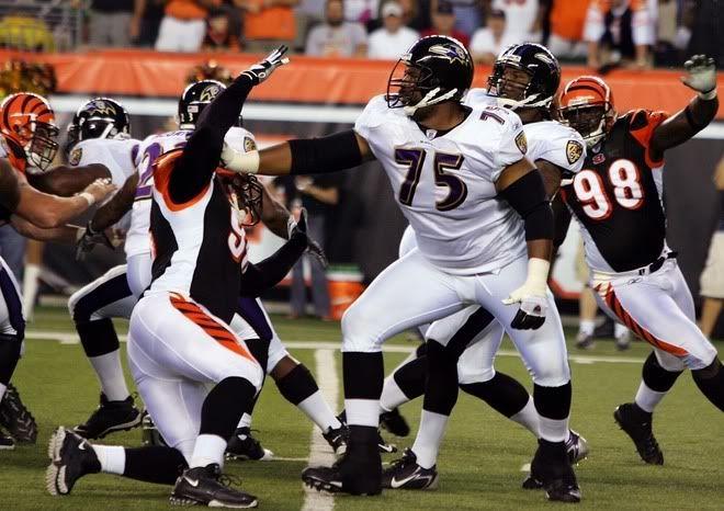 ogden wallpaper ravens  | Jonathan Ogden 75 of the Baltimore Ravens blocks Michael Myers 96 of ...