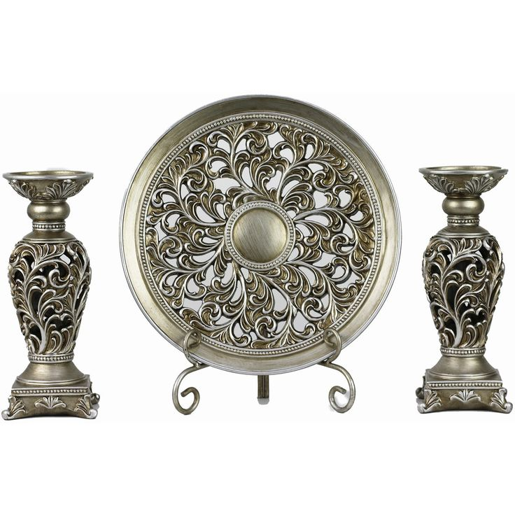 D'Lusso Designs Lucrezia Collection Four Piece Charger, Stand And Two Candlestick Set