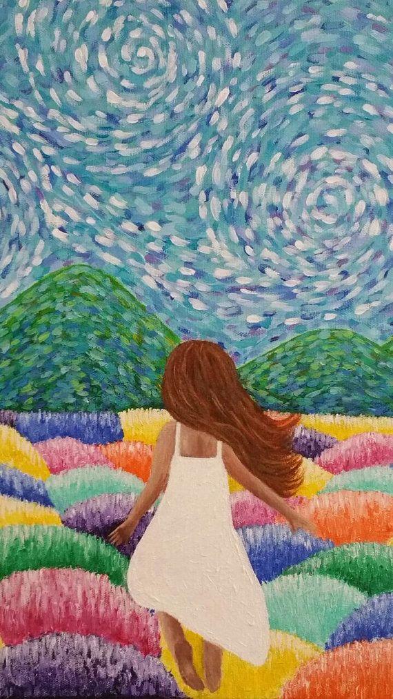 Pintura en Acrílico Niña Montañas por LivingBlue en Etsy