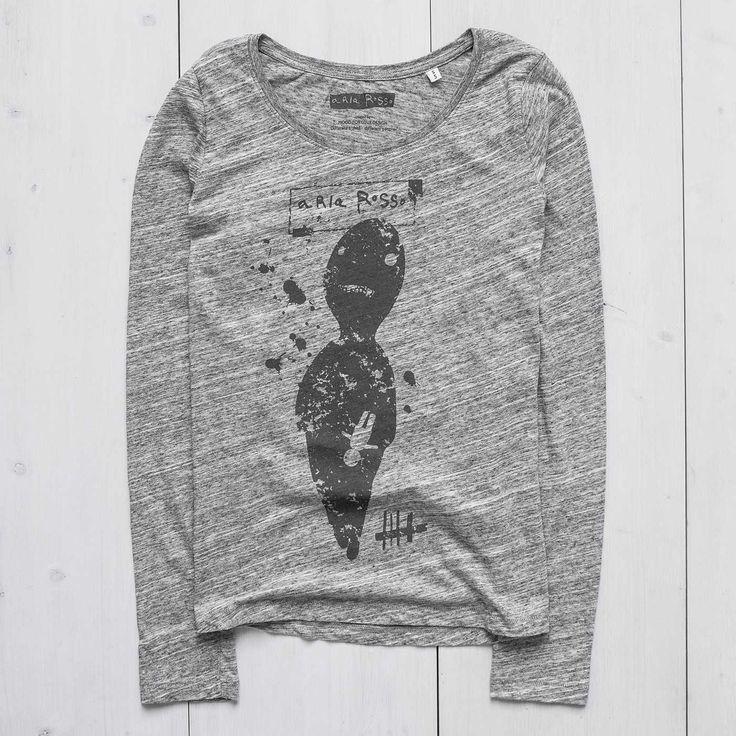 Women's Printed Sweatshirt long sleeve slub heather grey Zero Ariarosso #tshirtdesign #graphictees  #longsleeve #tee #tshirt #womanswear #casua